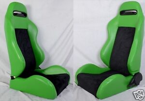 1 Pair Green Black 2 Tone Adjustable Racing Seats Fit For Bmw New