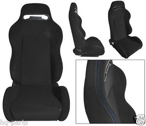 Pair Black Cloth Blue Stitch Reclinable Racing Seats Fit For Bmw Sliders