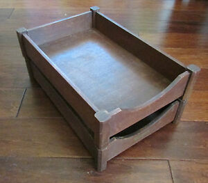 Vintage Mid Century Office Desk Dark Wood Letter Legal Paper Tray In out Box