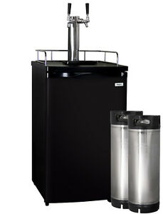 Kegco Full size Homebrew Kegerator Dual Tap Dispenser Black With Ball Lock Kegs