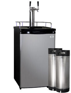 Kegco Full size Homebrew Kegerator Dual Tap Stainless Steel With Ball Lock Kegs