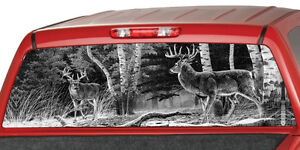 Deers In A Forest B w Window Graphic Tint Decal Sticker Truck Jeep Suv Hunting