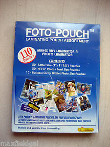 New Foto pouch Laminating Asort Fcg 195 110 Pouches 50 Letter 50 Photo 10card
