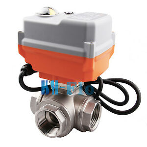 Hsh flo 1 12vdc 3 Way Ss304 Motorized Ball Valve Auto Return Electrical Valve