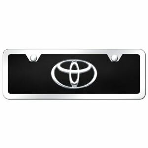 Toyota Logo Chrome Black Acrylic Mini Front License Plate Frame Trd Novelty
