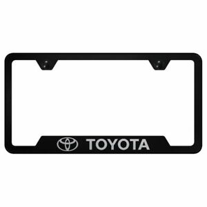 Toyota Logo Laser Etched Black License Plate Frame Stainless Steel Trd