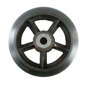 10 X 2 1 2 Rubber On Cast Iron Wheel With Bearing 1 Ea