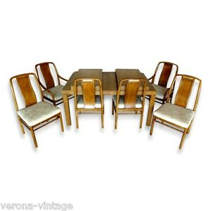 Vtg Drexel Preface Dining Set Ext Table 6 Chairs Chinoiserie Mid Century Modern