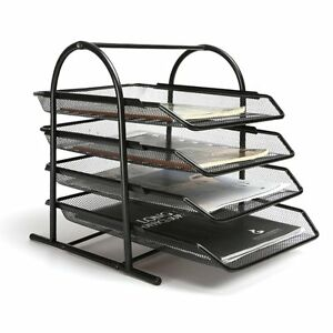 4 tier Steel Mesh Desk Tray Letter Paper File Holder Organizer Office Supply
