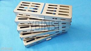 10 Dental Surgical Autoclave Sterilization Cassettes Rack Box For 5 Instruments