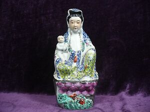 Antique Chinese Famille Rose Porcelain Guanyin Statue 10 25 Excellent