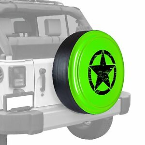 Oscar Mike Star Painted Tire Cover Fits Jeep Wrangler Gecko Green