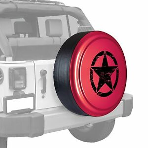 Oscar Mike Star Painted Tire Cover Fits Jeep Wrangler Deep Cherry Red