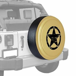 Oscar Mike Star Painted Tire Cover Fits Jeep Wrangler Sahara Tan