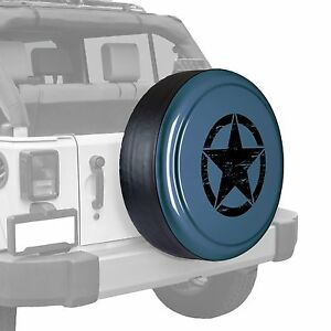 Oscar Mike Star Painted Tire Cover Fits Jeep Wrangler Steel Blue