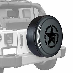 Oscar Mike Star Painted Tire Cover Fits Jeep Wrangler Dark Charcoal