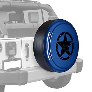 Oscar Mike Star Painted Tire Cover Fits Jeep Wrangler True Blue