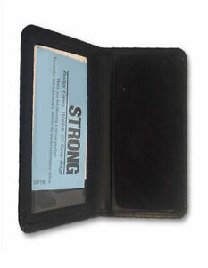 Black Leather Bi fold Shield Badge Wallet case With Id Card Window Holder Police