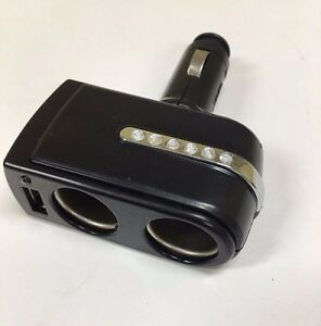 Usb 2 Way Car Cigarette Lighter Socket Splitter Dc12v Charger Adapter Ask g1