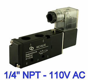 1 4 Pneumatic 4 Way 2 Position Directional Control Air Solenoid Valve 110v Ac