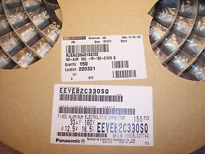 Qty 150 33uf 160v 105 Smd Electrolytic Capacitors Eeveb2c330sq Panasonic