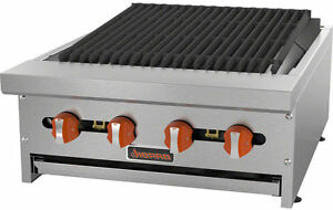 Sierra Srcb 24 24 Stainless Steel 4 burner Commercial Gas Char broiler New