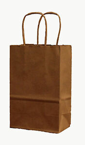 100 Natural brown Paper Retail Handled Shopping Bags 5 x3 x8 Small Gift Bags