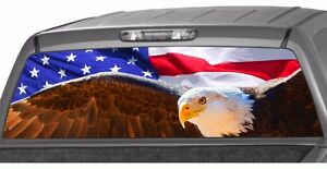 Usa American Flag Bold Eagle Rear Window Graphic Decal Pickup Truck Ford Chevy