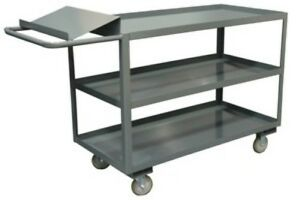 Durham 3 Shelf Order Picking Cart With Writing Surface Lip For Pens 18 X 36