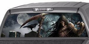 Grim Reaper Cemetery Craw Rear Window Graphic Decal Tint Sticker Truck Full Moon