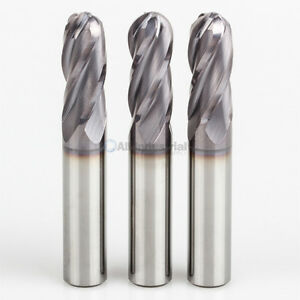 3 Pcs 1 4 4 Flute Regular Length Ball End Carbide End Mill Tialn Coated
