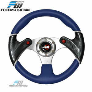 Universal 320mm Racing Steering Wheel Jdm Logo Blue Black Pvc Leather