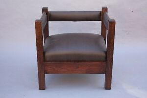 1910 Arts Crafts Mission Cube Chair Riveted Leather Upholstery Set 8814
