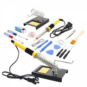 18in1 110v 60w Soldering Iron Tools Kit Set W Tin Wire Iron Stand Desolder Pump