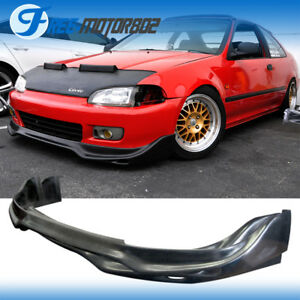 Fit 1992 1995 Honda Civic Pu Front Bumper Lip Jdm Jun Style Black