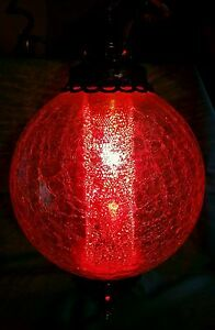 Vintage Clear Crackled Glass Hanging Swag Ceiling Light Lamp Ball W Diffuser