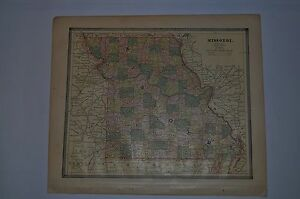 1885 Crams Color Map Iowa And Missouri