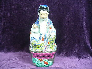 Antique Chinese Famille Rose Porcelain Guanyin Buddha Statue 10 25