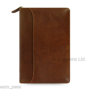Filofax Personal Size Lockwood Leather Zipped Organiser Cognac Brown 021692