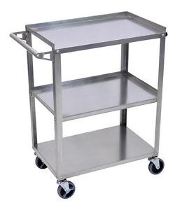 Luxor Stainless Steel Utility Cart 34 inch H Silver Ssc 3 New
