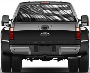American Flag Version 2 Rear Window Graphic Decal Black White Ford Chevy Dodge