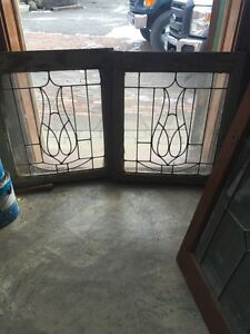 Sg 426 Matched Pair Antique Leaded Glass Windows