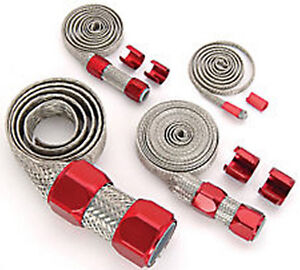 Red Braided Hose Sleeving Kit Radiator Vacuum Heater And Fuel Line Hose
