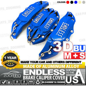 Metal 3d Endless Universal Style Brake Caliper Cover Front rear 4pcs Blue Lw02
