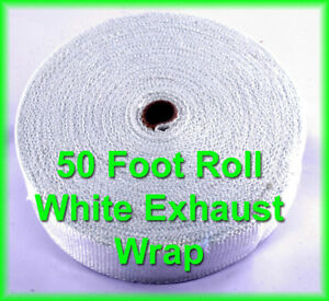 White Exhaust Pipe Header Wrap Roll 1 16 X 2 X 50 High Temperature Heat Tape
