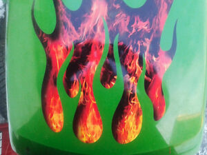 Flame Decals Sunken Effect For Riding Lawn Mower Tractor 3pc Set Choose Color