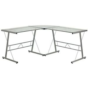 Flash Furniture Glass L shape Computer Desk W silver Frame Finish Computer Desk