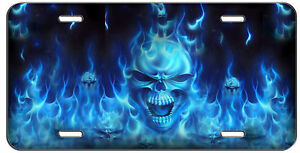 License Plate Blue Flaming Skulls Auto Tag