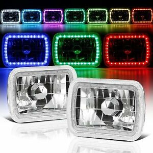 86 95 Jeep Wrangler Yj 7x6 Rgb Multi Color Led Smd Halo Headlights Set Pair