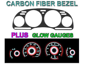 Real Carbon Fiber Bezel Red Glow Gauge Face For 90 91 Nissan 300zx Non Turbo